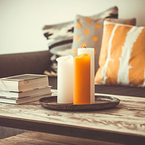 Candles on coffee table